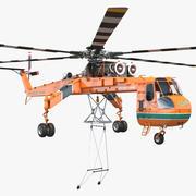 重装索科斯基S-64 Skycrane直升机索具 3d model