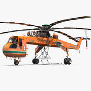 西科斯基S-64 Skycrane直升机货运橙色 3d model