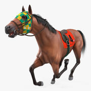 Bay Racehorse Fur Rigged 3d model