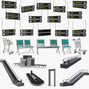 Sammlung von Flughafen-Requisiten 3d model