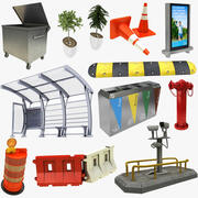 Street Equipments 11 in 1 Collection 3d model