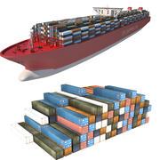 コンテナー船とコンテナー 3d model