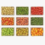 Obst und Gemüse in Kisten 3d model