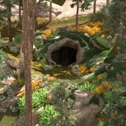 Wejście do jaskini w dżungli 3d model