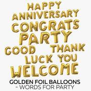 Goldene Folienballons - Wörter für Partei 3d model