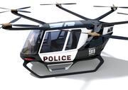Vätgasdriven polisdron med interiör 3d model