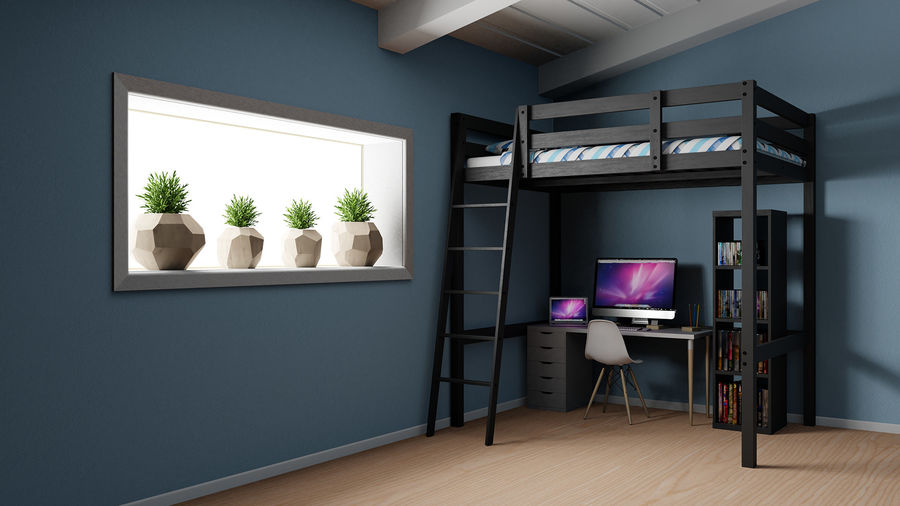 IKEA Stora Bunk Bed royalty-free 3d model - Preview no. 19