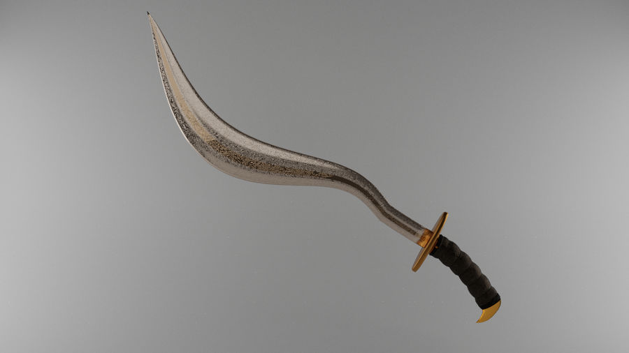Curved Sword royalty-free 3d model - Preview no. 11