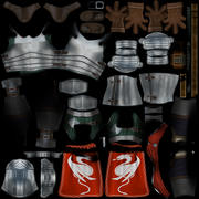 Ridder karakter met schild en zwaard 3d model