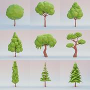 Zestaw drzew lowpoly 3d model