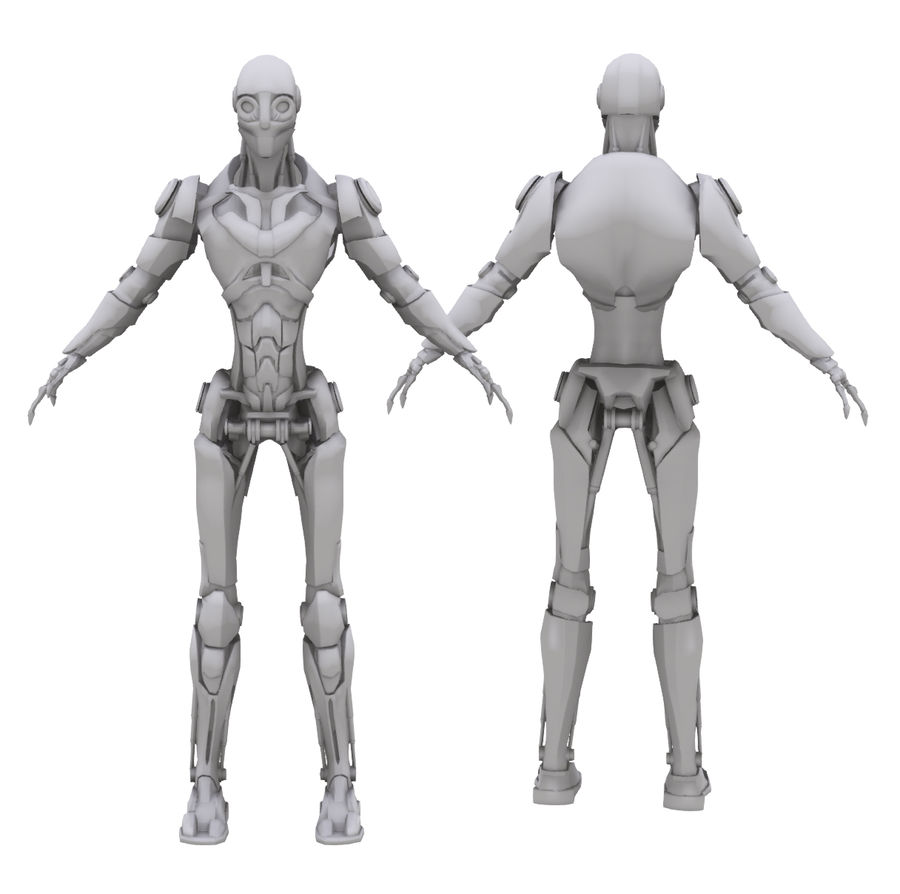 Robo Skeleton Cyborg Robot Full Character royalty-free 3d model - Preview no. 3