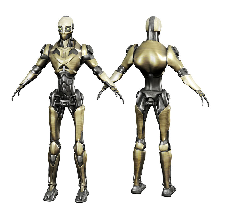 Robo Skeleton Cyborg Robot Full Character royalty-free 3d model - Preview no. 2