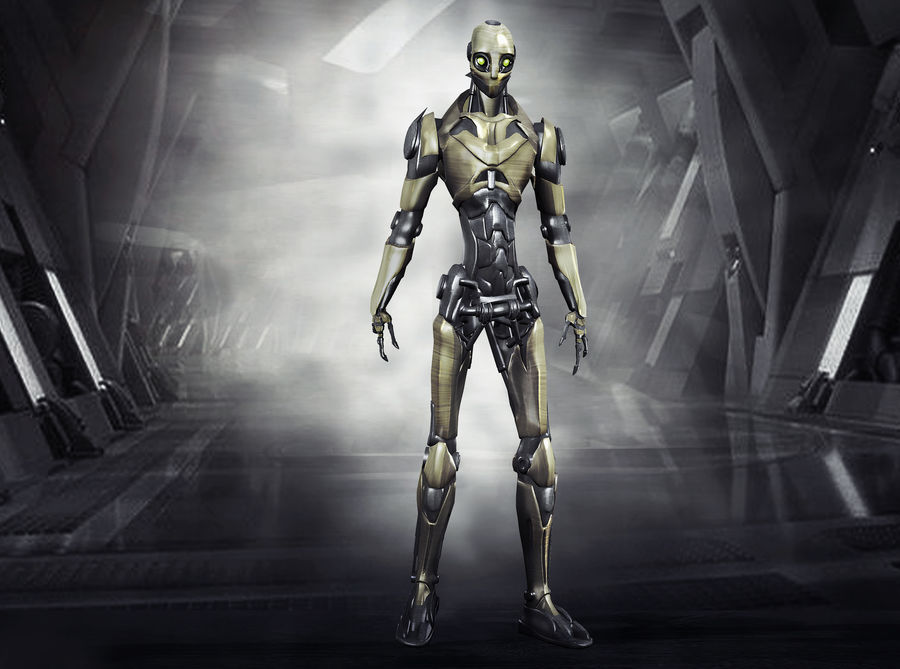 Robo Skeleton Cyborg Robot Full Character royalty-free 3d model - Preview no. 1