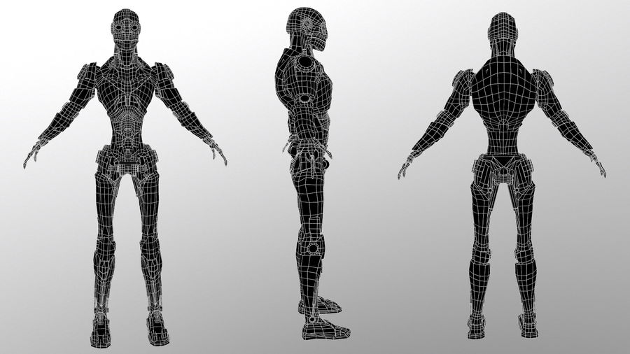 Robo Skeleton Cyborg Robot Full Character royalty-free 3d model - Preview no. 4