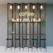 bar cafetería modelo 3d