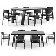 Tavolo luminoso PORRO Minimo e sedie Neve 3d model