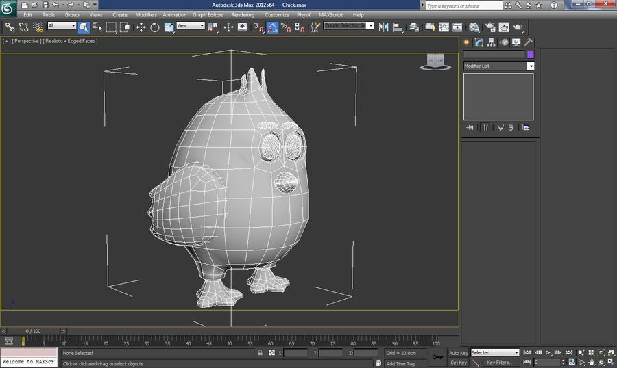 Chicken Cartoon Character royalty-free 3d model - Preview no. 4