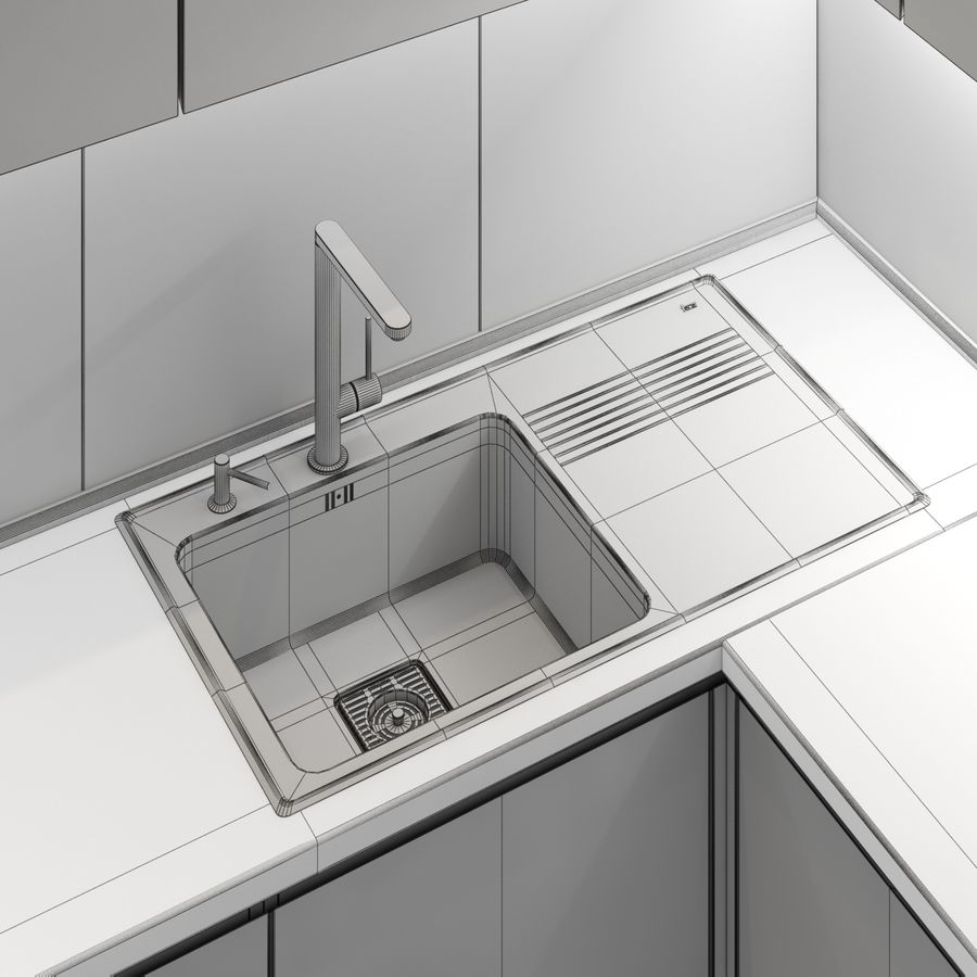 Corner Kitchen royalty-free 3d model - Preview no. 10