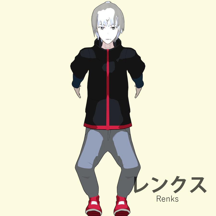 Personagem de Anime - Garoto Torcido royalty-free 3d model - Preview no. 14