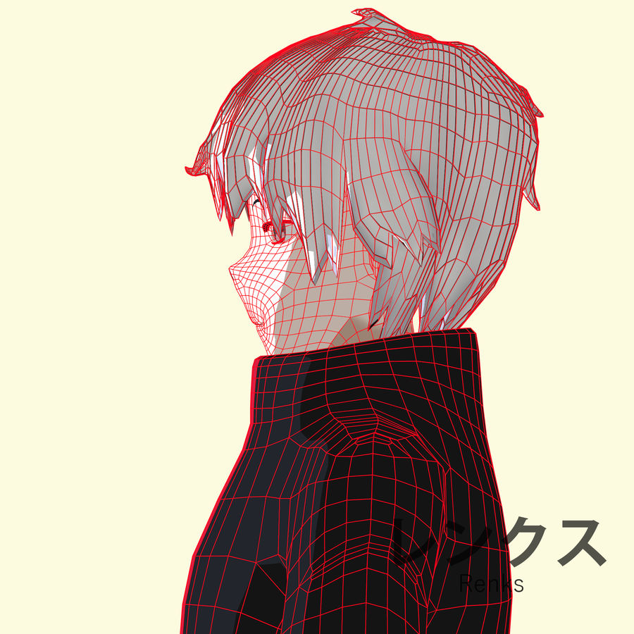 Personagem de Anime - Garoto Torcido royalty-free 3d model - Preview no. 16