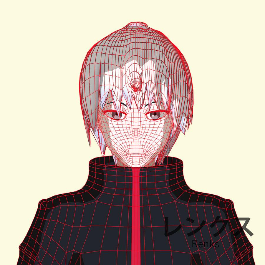Personagem de Anime - Garoto Torcido royalty-free 3d model - Preview no. 15