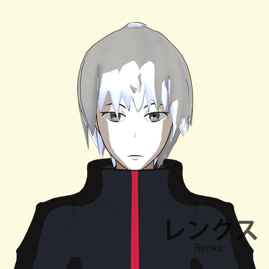 Personagem de Anime - Garoto Torcido royalty-free 3d model - Preview no. 10