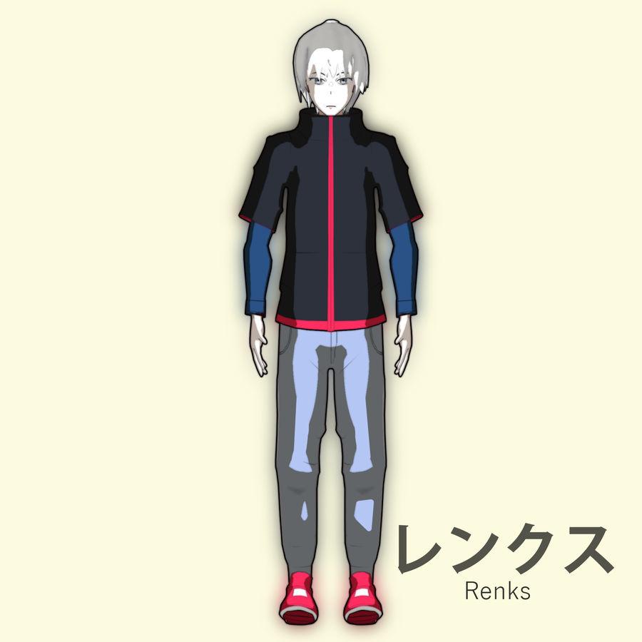 Personagem de Anime - Garoto Torcido royalty-free 3d model - Preview no. 6