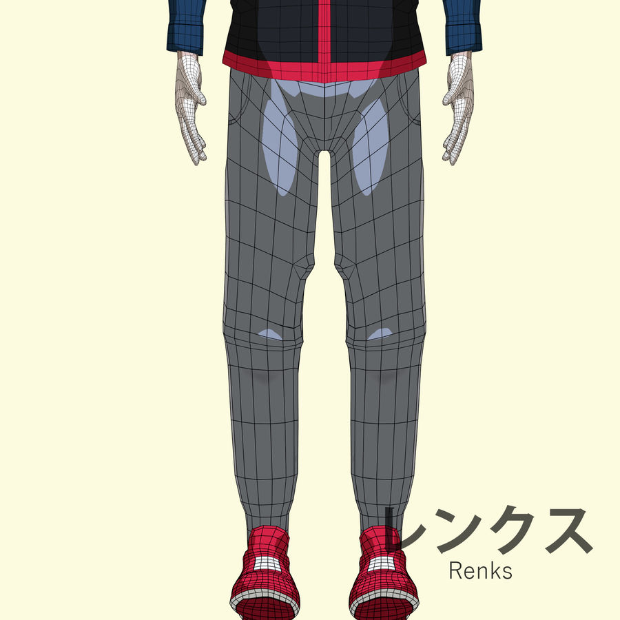 Personagem de Anime - Garoto Torcido royalty-free 3d model - Preview no. 20