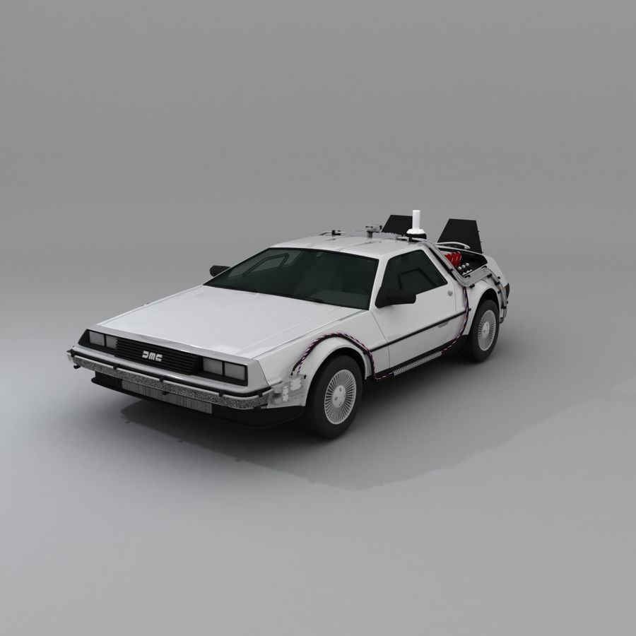 DeLorean DMC-12 Back To The Future royalty-free 3d model - Preview no. 4
