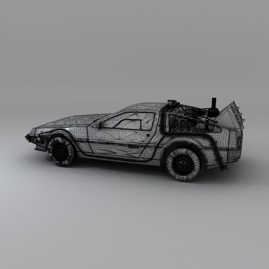 DeLorean DMC-12 Back To The Future royalty-free 3d model - Preview no. 19