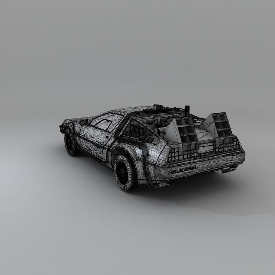 DeLorean DMC-12 Back To The Future royalty-free 3d model - Preview no. 20