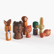 Animali giocattolo foresta di legno 3d model