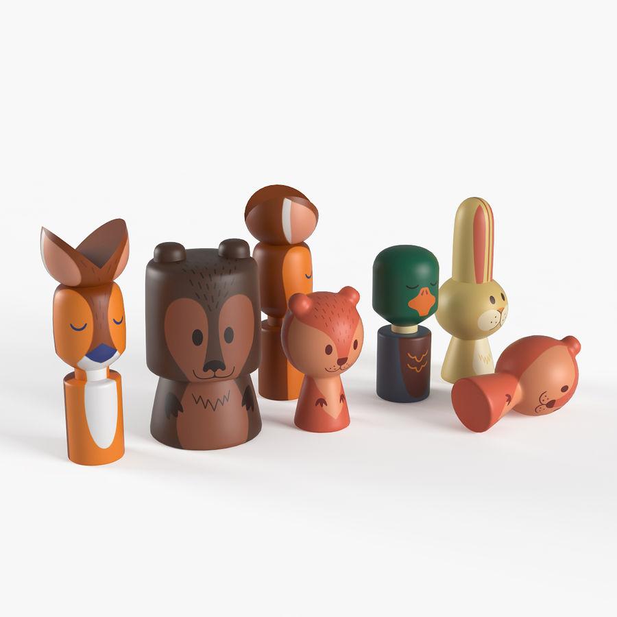 Animales de juguete del bosque de madera royalty-free modelo 3d - Preview no. 1