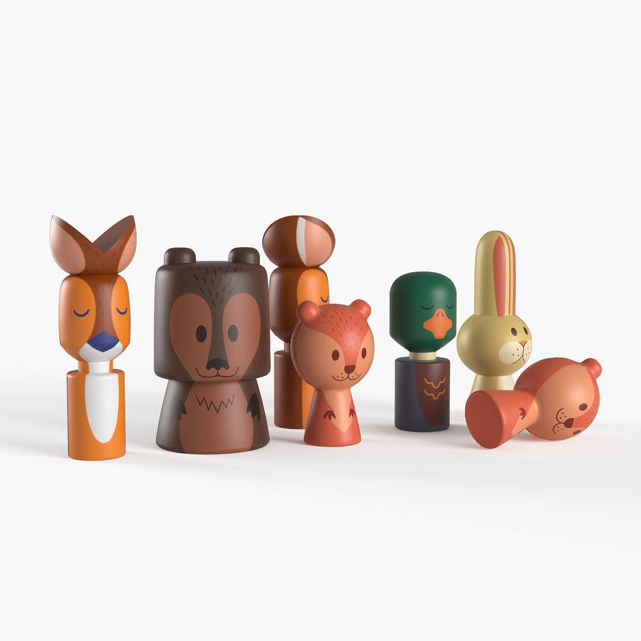 Animales de juguete del bosque de madera royalty-free modelo 3d - Preview no. 2
