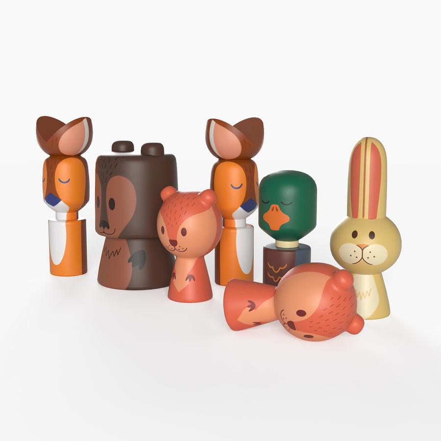 Animales de juguete del bosque de madera royalty-free modelo 3d - Preview no. 3