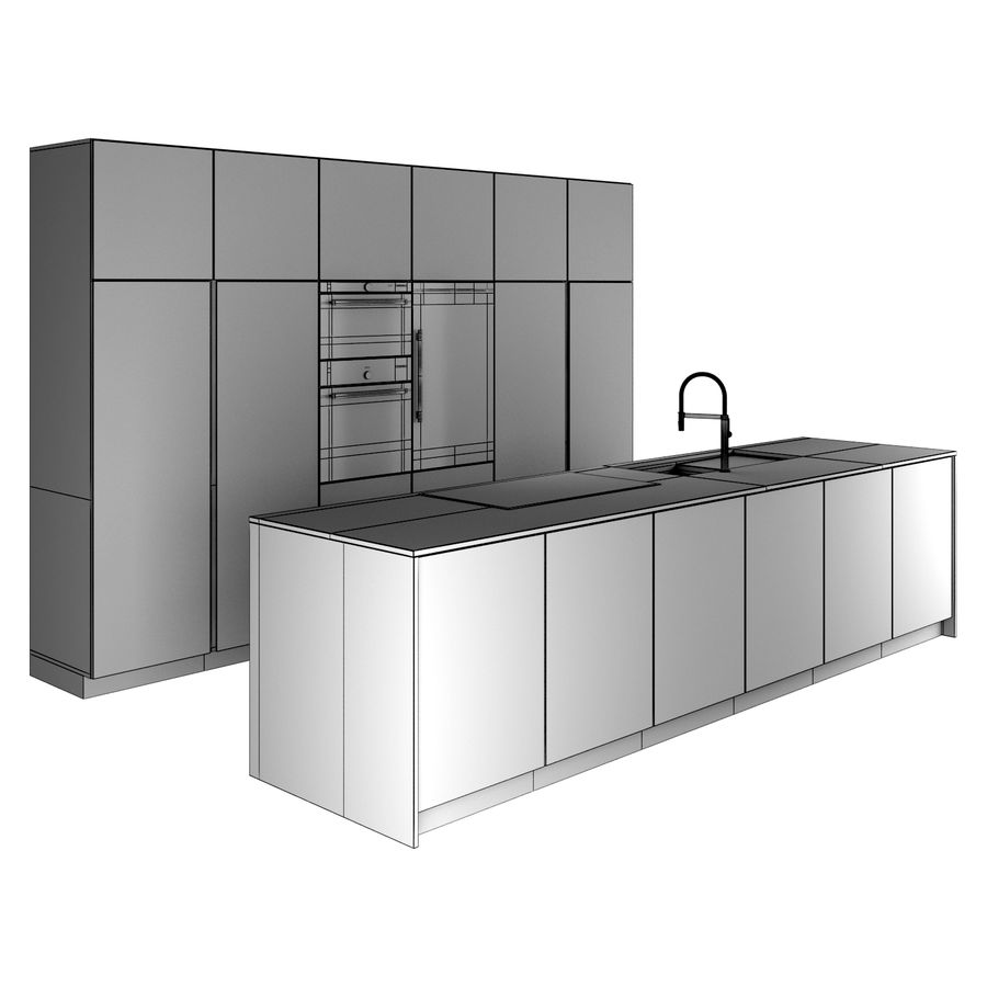 Modern Kitchen royalty-free 3d model - Preview no. 7