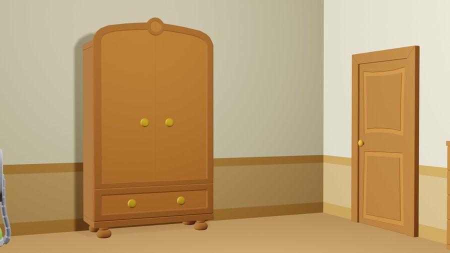 Çizgi film yatak odası royalty-free 3d model - Preview no. 4