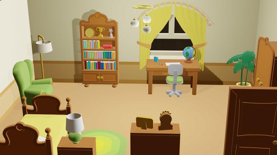 Çizgi film yatak odası royalty-free 3d model - Preview no. 1