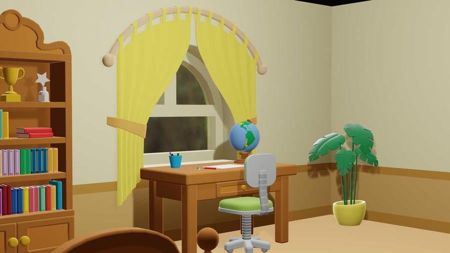 Çizgi film yatak odası royalty-free 3d model - Preview no. 3