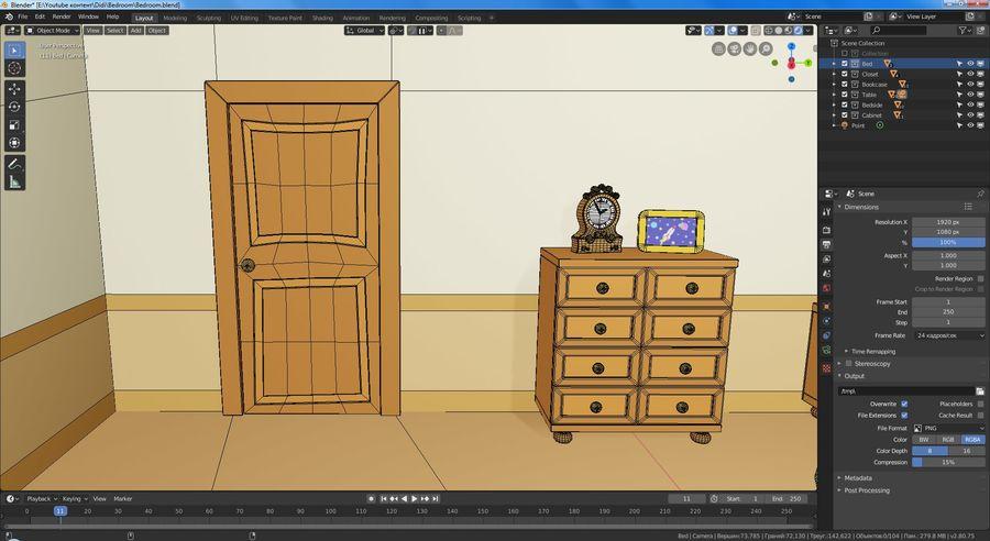 Çizgi film yatak odası royalty-free 3d model - Preview no. 9