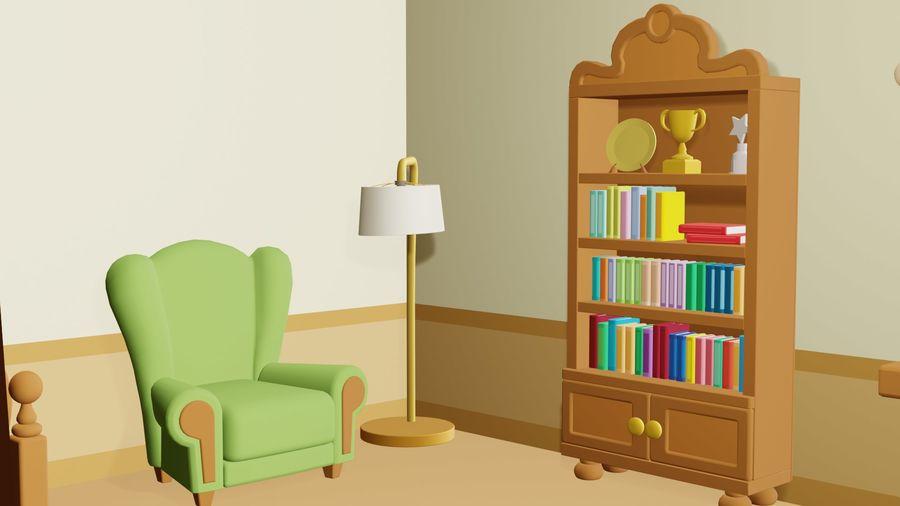 Çizgi film yatak odası royalty-free 3d model - Preview no. 2