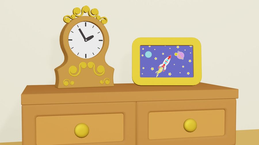 Çizgi film yatak odası royalty-free 3d model - Preview no. 5