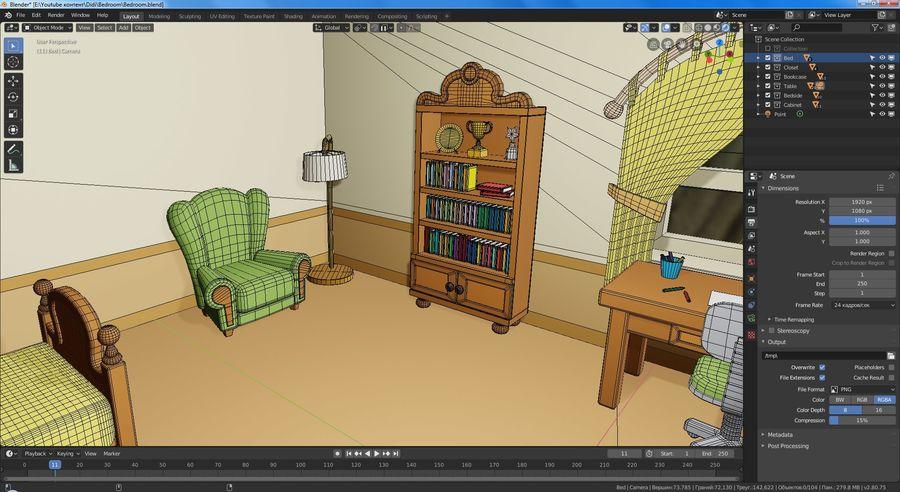 Çizgi film yatak odası royalty-free 3d model - Preview no. 7