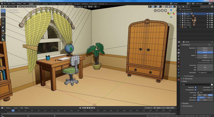 Çizgi film yatak odası royalty-free 3d model - Preview no. 8