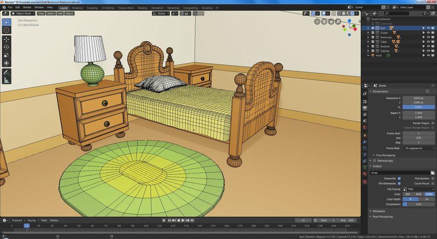 Çizgi film yatak odası royalty-free 3d model - Preview no. 10