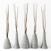 Vase figurierter Zweig dünn 3d model