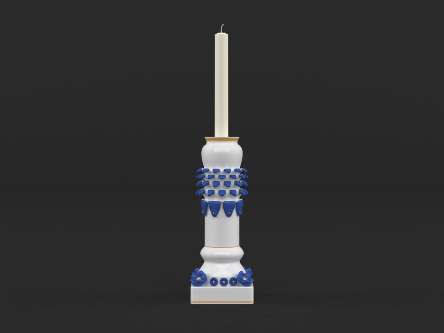 Candlestick with candle royalty-free 3d model - Preview no. 1