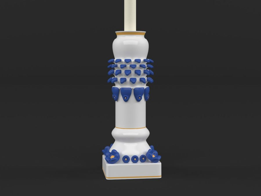 Candlestick with candle royalty-free 3d model - Preview no. 4