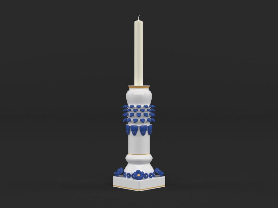 Candlestick with candle royalty-free 3d model - Preview no. 2