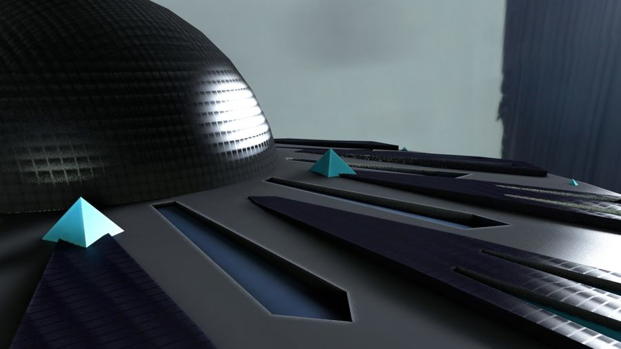 Alien UFO Space Ship royalty-free 3d model - Preview no. 8
